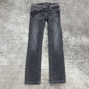 Miss Me Girls Black Straight Leg Jeans Size 8